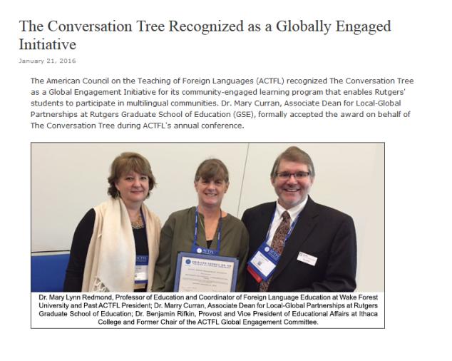 crop of ACTFL article award for CT website